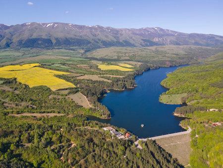 Aerial view of Dushantsi Reservoir, Sredna Gora Mountain, Sofia Region, Bulgaria