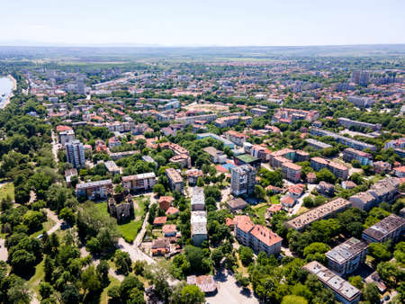 Aerial spring view of town of Vidin, Bulgaria Banque d'images