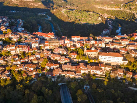 Amazing Aerial Sunset view of city of Veliko Tarnovo, Bulgaria Stock Photo