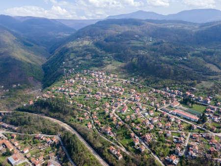 Aerial view of village of Lakatnik at Iskar river Gorge, Balkan Mountains, Bulgaria