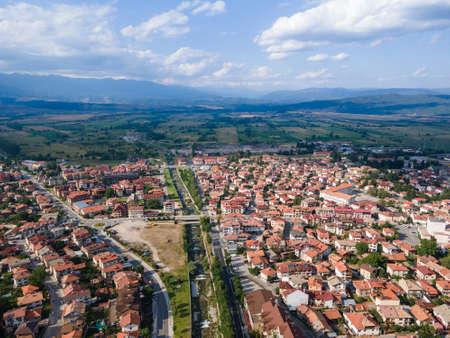 Aerial view of famous ski resort of Bansko, Blagoevgrad Region, Bulgaria