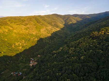 Aerial Sunset view of Belasitsa Mountain near town of Petrich, Bulgaria