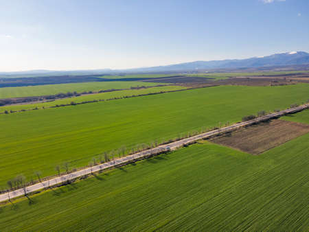 Aerial Spring landscape of Rural Land near town of Hisarya, Plovdiv Region, Bulgaria