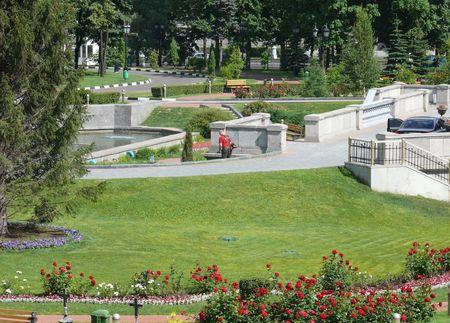 Landscape design with gardener