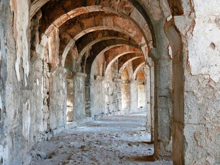 Arch gallery in ancient amphitheater - Aspendos, Turkey