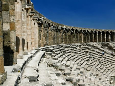 Old greek amphitheater Aspendos - Turkey Stock Photo