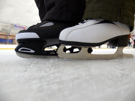 two legs in skates