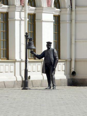 ringer: Sculpture of railroad ringer - Yekaterinburg