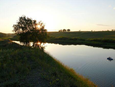 Evening in Uvelka River - Chelyabinsk area Stock Photo