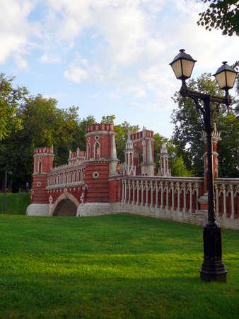 Red brick bridge in Tsaritsino, Moscow photo