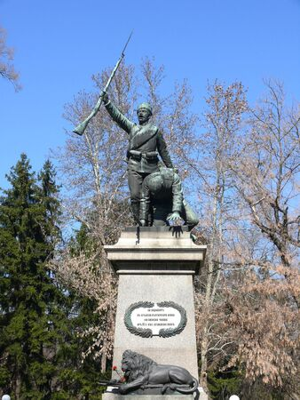 Monument for Serbian-Bulgarian war in center of Pleven, Bulgaria Stock Photo