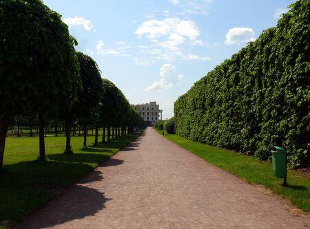 Old path in Public park. Arkhangelskoye Estate. Moscow