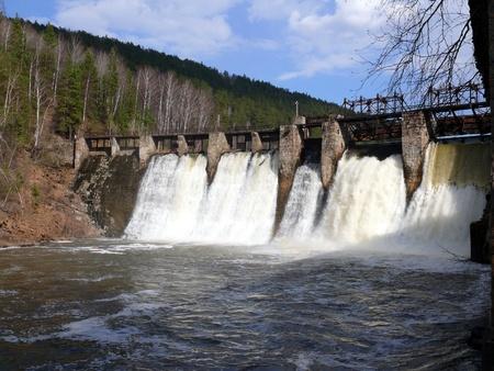 anthropogenic waterfall in satka river - village Porogi, Satka, Ural, Russia Stock Photo