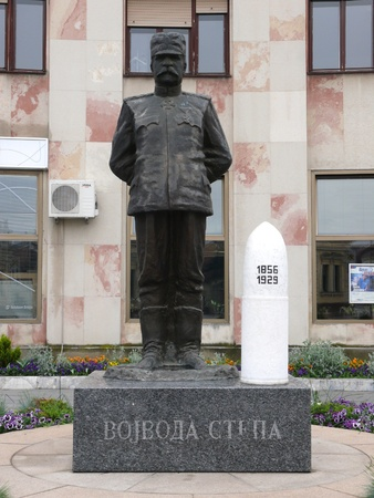 Monument of Warior Stepa in the center of Chachak town, Serbia Stock Photo