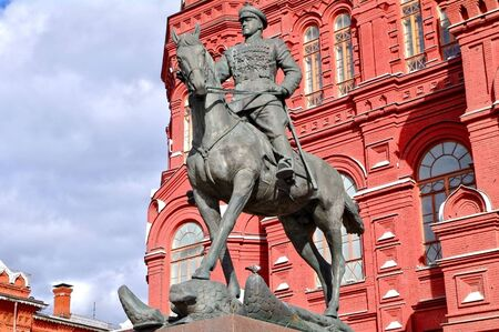 Zhukov monument near National historic museum in Moscow, Russia