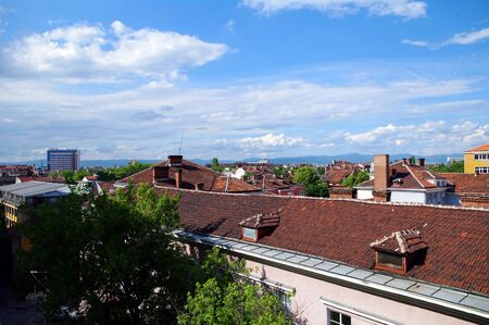 Roofs of Sofia in the summer. Bulgaria
