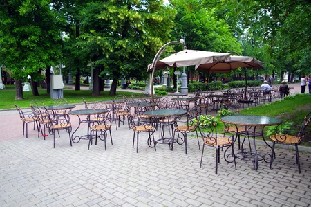 Cafe in the park Hermitage, Moscow, Russia