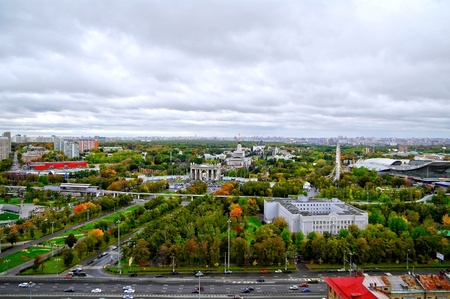 Panorama of All-Russia Exhibition Centre in Moscow, Russia Stock Photo