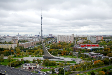 Panorama of central museum of Astronautics and Ostankino tower in Moscow, Russia Editorial