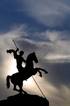 Silhouette of saint george victorious in Victory park, moscow, Russia photo