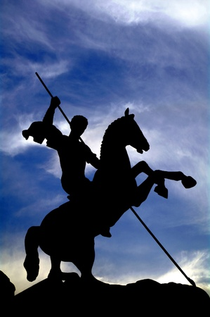 Silhouette of saint george victorious in Victory park, moscow, Russia Stock Photo