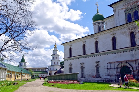Istra, Russia - June 05, 2010  Summer day  People  walks near the Voskesensky church in New Jerusalem monastery on June 05, 2010 in Istra, Moscow area, Russia