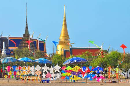 bangkok temple: Thai kite selling stall at the front of Royal Palace, Thailand