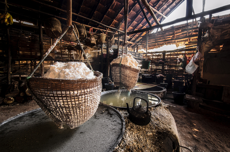 evaporate: Boiling rock salt from underground water in Nan Province,Thailand Stock Photo