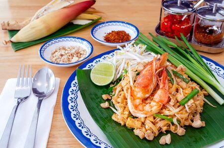 Homemade food, Thai food Pad Thai with shrimp, Thai style noodles.