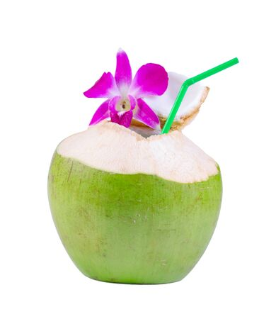 Green coconut with drinking straw isolated on white background.