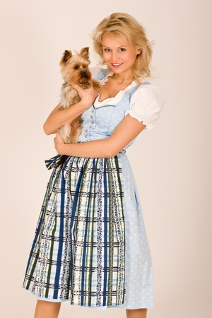 Bavarian girl with dog photo
