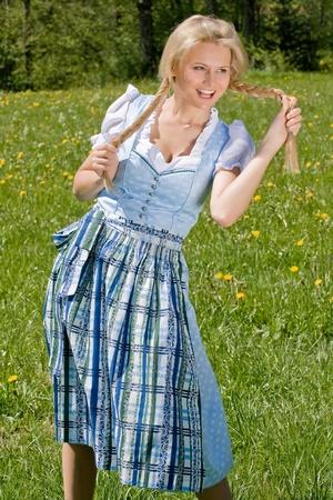 Happy Bavarian girl costume photo