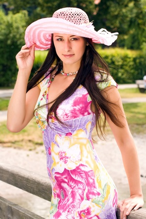 Young German Plus Size Model in a summer dress with hat Stock Photo - 10420727