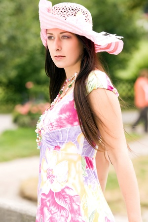 Young German Plus Size Model in a summer dress with hat Stock Photo - 10420676