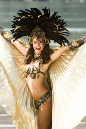 Young girl in a very elaborate costume Samba photo