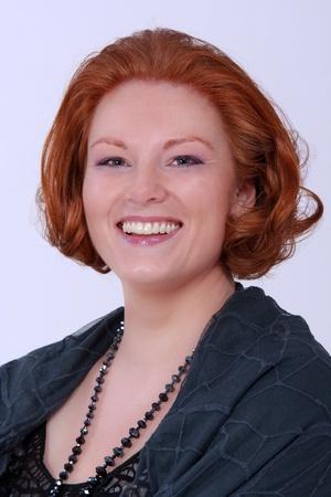 Royal Portrait of a redheaded woman in elegant dress