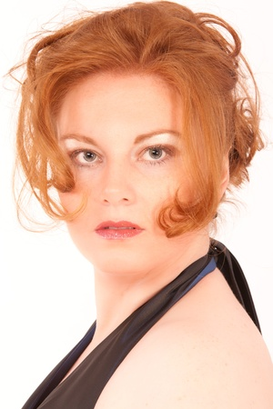 Portrait of an elegant red-headed Plus Size Model  photo