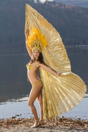 Young girl in a very elaborate costume Samba