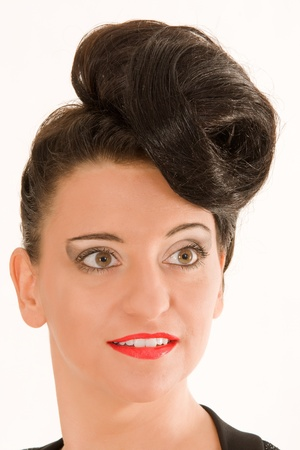 Portrait of a woman with extremely fashionable hairstyle Stock Photo - 12325103