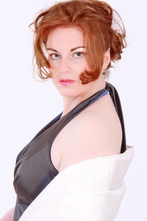 Portrait of an elegant red-headed Plus Size Model photo