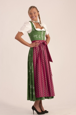 Portrait of a girl in the green Bavarian dirndl