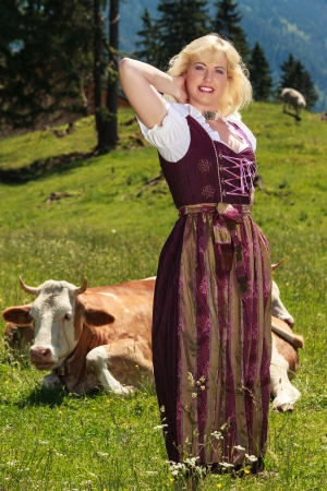 Young woman in a dirndl in an alpine meadow with cows photo