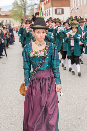 Young Mark Eden provider in dirndl when Patronatstag the Gebirgs sch�tzen in Miesbach on 04 05 2014