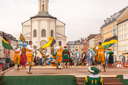 Traunstein Bavaria Germany 06th of April 2015 end and climax of the yearly Georgi39s Ride On Easter Monday in Traunstein in Upper Bavaria is the historical sword dance.