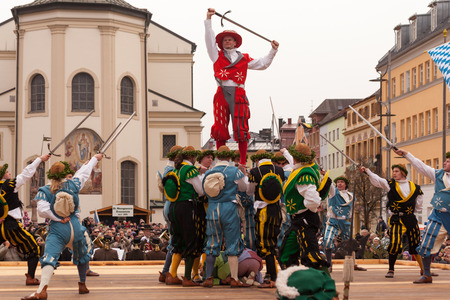 expulsion: Traunstein Bavaria Germany 06th of April 2015 end and climax of the yearly Georgi39s Ride On Easter Monday in Traunstein in Upper Bavaria is the historical sword dance.