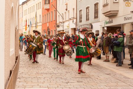 fanfare: Traunstein Bavaria Germany 06th of April 2015 historical trains fanfare by the yearly39s Georgi ride on Easter Monday in Traunstein in Upper Bavaria