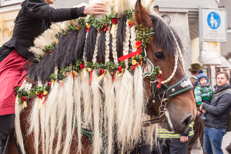 strands: Traunstein Bavaria Germany 06th of April 2015 horse head with twisted strands by the historical Georgi39s ride in Traunstein on Easter Monday