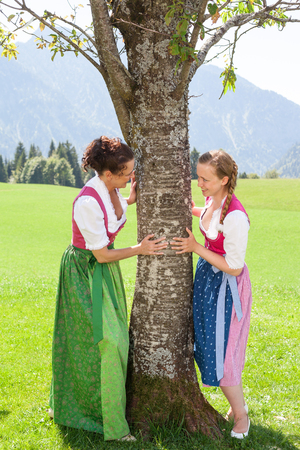 adhere: Two bavarian women adhere to a tree in a meadow in the mountains and smile at each other. Both in traditional dirndl.