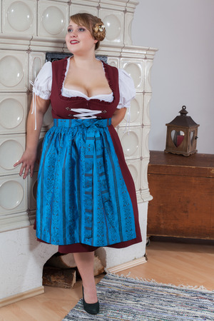 Busty and curvy bavarian girl in dirndl