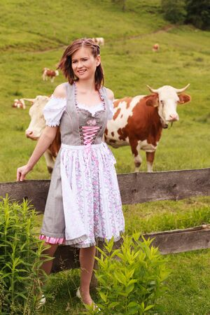 Young woman with fluttering hair, leaning in a Bavarian dirndl on a fence, with cows in the background on a meadow.